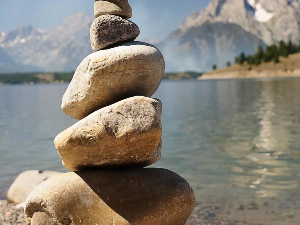 Stack of rock by the Tetons.